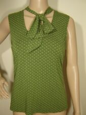 Ann Taylor LOFT women's M Sleeveless Tie V Green Diamond Dot Print Jersey Blouse