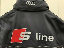 AUDI S-LINE BLACK JACKET HIDDEN HOOD REMOVABLE ARMS GILET SIZE Medium RED LINING