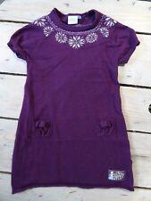 Robe violette manches courtes imprimées flocons LA REINE DES NEIGES 4-5 ans
