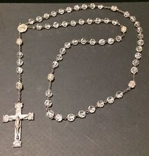Sterling Silver Rosary Beads Faceted Clear Crystal Glass VINTAGE & BEAUTIFUL