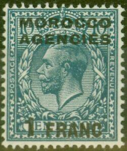 Morocco Agencies 1917 1f on 10d Turq-Blue SG199 Fine Lightly Mtd Mint