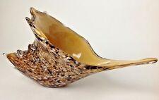 Art Glass Conch Sea Shell Murano Style Handblown Cornucopia Brown Millefiori