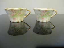 2 Antique Theodore Haviland Limoges French Porcelain Blossom Cups no Saucers