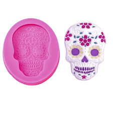 Gothic cool Skull Silicone Mold Mould for cake Icing decoration Halloween  M255