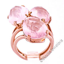 18K Rose Gold Checkerboard Faceted Oval & Pear Pink Quartz Large Cocktail Ring