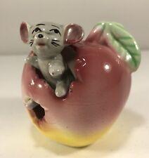 Vtg Anthromorphic Mouse in Apple Toothpick Holder Japan Figurine Whimsical. C5
