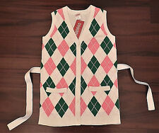 NWT GYMBOREE Smart Girls Rule Green Pink White Argyle Sweater Cardigan Sz 5 6