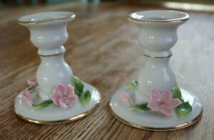 Lefton Candlestick holders White Porcelain Gold trim Pink Cherry blossoms no 721