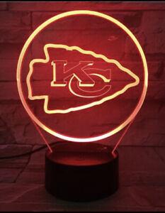 Kansas City Chiefs Night Light Nfl Football New 3D LED Multicolor