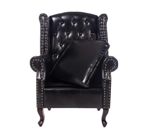 Black Vintage Armchair PU Leather Office Removable Cushion Chair Living Room NEW