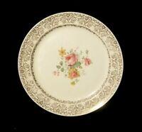 """Vintage Taylor Smith & Taylor 9 3/4"""" Floral Dinner Plate With 22K Gold Leaf"""
