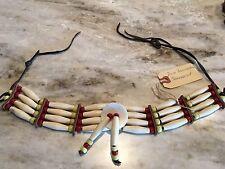 VNTG Native American Choker DIOSA FAIRWEATHER Bone Leather Beads Narragansett