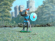 Vintage Timpo Medieval Knight attacking 1:32 painted