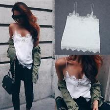 Women Ladies V Neck Slim Sleeveless Lace Vest Top Tank Chiffon Blouse Camisole G
