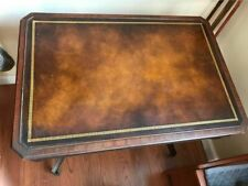 Vintage, heirloom Weiman table 714 leather top mahogany with casters