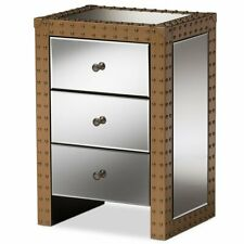Nightstand Drawer Storage Bedside Table Mirrored Modern Contemporary Furniture