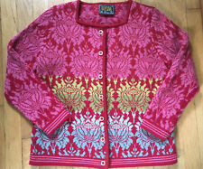 Oleana Floral Wool Sweater Hisdal Hip Length Cardigan Sz M Long Sleeve Buttons
