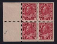 Canada Sc #109a (1923) 3c carmine Admiral Booklet Pane Mint H