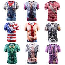 Men Funny 3D Print Cowboy T-Shirts Tops Summer Short Sleeve Casual Shirt Muscle