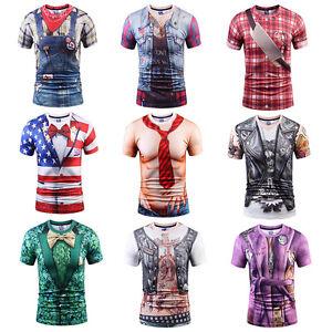 Men Funny 3D Print Cowboy T-Shirts Tops Summer Short Sleeve Casual Muscle Shirt