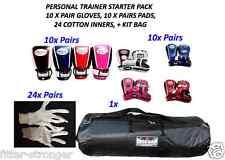 10 x Pairs BOXING GLOVES & PADS kit bag Morgan XS S M L XL new CHEAP bulk buy