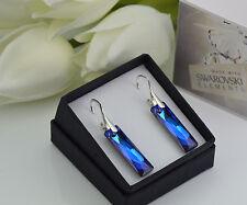 925 SILVER EARRINGS 25mm QUEEN BAGUETTE - BERMUDA BLUE -Crystals from Swarovski®