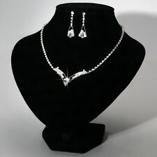 Bridesmaid Silver Necklace Earrings Set Crystal Wedding Fashion Jewellery Set
