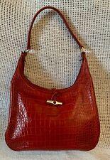 Beautiful *LONGCHAMP* Dark Red Roseau Croc Embossed Leather Tote Shoulder Bag