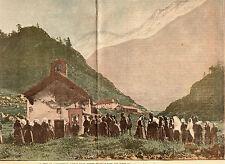 ALPES FETE DE ASSOMPTION CHAPELLE NOTRE DAME DES NEIGES BERGER IMAGE 1908 PRINT
