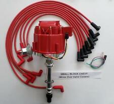 SMALL BLOCK CHEVY RED HEI Distributor & 8mm SPARK PLUG WIRES over valve covers