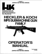 Heckler & Koch MP5 Submachine Gun User Operator's Manual H&K