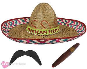 RED SOMBRERO MEXICAN FIESTA STRAW HAT ADD MOUSTACHE CIGAR FANCY DRESS COSTUME
