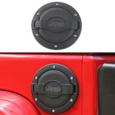 Black Gas Tank Cap Fuel Filler Cover with logo fit 2007-2017 Jeep Wrangler JK