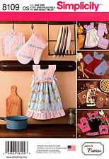 Simplicity Sewing Pattern 8109 Kitchen Towel Dress Pot holders Over Mitts