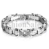 "8.9"" Heavy Stainless Steel Silver Cross Link Chain Bracelet Cuff Bangle for Men"