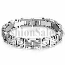 "8.9"" Heavy Stainless Steel Silver Cross Link Chain Bracelet Cuff Bangle for Men"