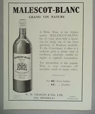 Malescot-Blanc Margaux-Medoc Wine PRINT AD - 1928