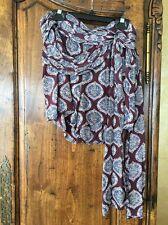 Free People Shorts Burgundy Print With Long Sash Size 2