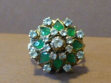 Circa 1920's 10K Yellow Gold Princess Cluster Ring - Size 7