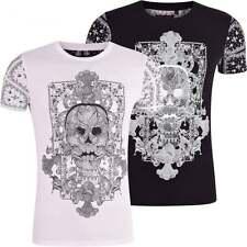 Brave Soul Mens Skull Print T Shirt Tattoo Design Bandana Paisley Cross Bones