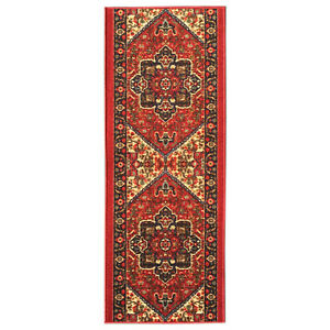 Custom Size Hallway Runner Rug Non Slip Rubber Back RED Traditional Oriental