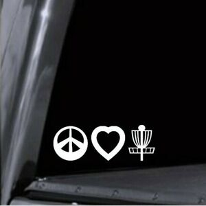 Peace Love Disc Golf Basket Vinyl Decal Sticker - Many Colors Available - USA