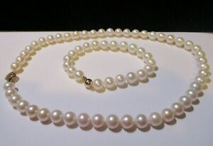 """9-10mm Natural White Akoya Pearl 18"""" Necklace & 8"""" Bracelet With 14kt Gold Clasp"""