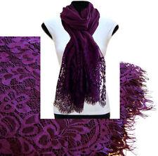 Large Purple Scarf Lace Shawl Floral Wrap Big Cotton Scarf Plain Pashmina Hijab