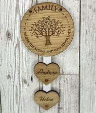 Personalised Family Where Life Begins Hanging Heart New Home Housewarming Gift