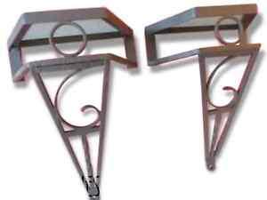 RARE Pair of Console ART DECO Wrought iron & Mirror 1930/ Fer Forgé Applique