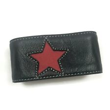 """bracelet bangle jewelry faux leather 9.5"""" L Barlow Girl black red star snap cuff"""