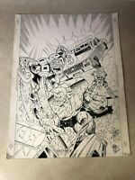 EXILES #2 original cover art SUPER HEROES battle smash POLICE CAR SIGNED PHIPPS