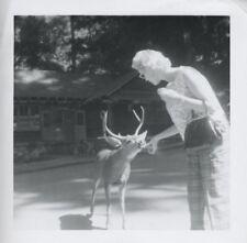 Pretty Woman Feeding Deer Vintage FOUND PHOTO Black & White Photograph P1