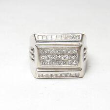 Big And Heavy Mens Estate 14K White Gold 39 Princess Cut Diamond Ring 1.25 Cts
